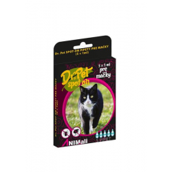 Dr.Pet spot-on pipety pre mačky 5 x 1 ml (spot-on tick and flea repellent for cats)