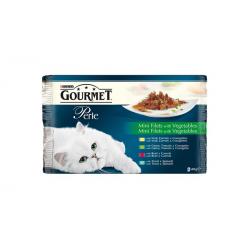Nestlé GOURMET PERLE cat Multipack mini filety v šťave so zeleninou kapsičky 4x85g