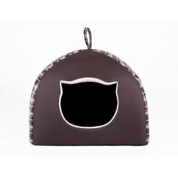 Pelech pre mačku Igloo - hnedý károvaný