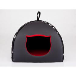 Pelech pre mačku Igloo - čierny s labkami